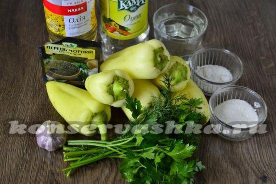 Ингредиенты для приготовления маринованного перца на зиму