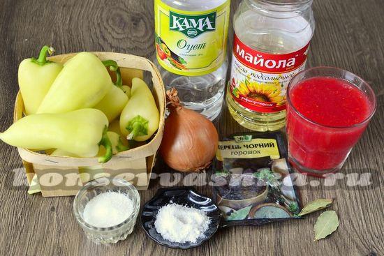 Ингредиенты для приготовления перца в томатном соке