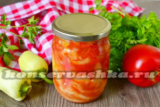 рецепт переца с луком в томатном соку на зиму