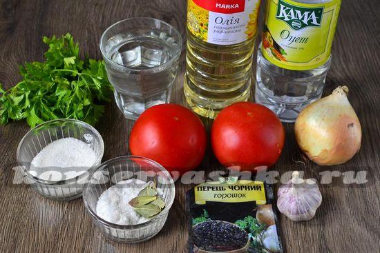 Ингредиенты для приготовления помидоров с луком на зиму