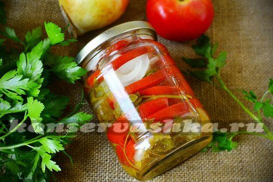рецепт салата с томатами и луком на зиму