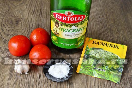 Ингредиенты для приготовления вяленых помидор