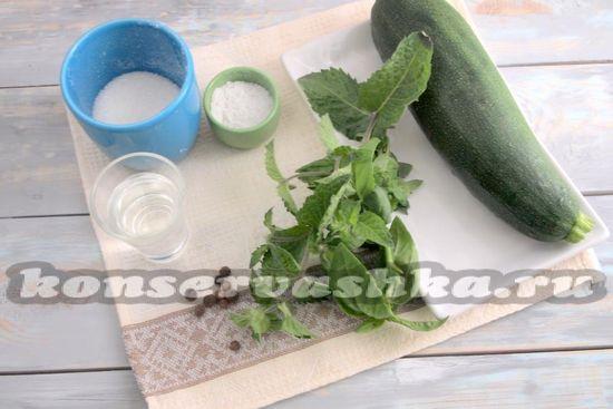 Ингредиенты для приготовления цукини с мятой и базиликом