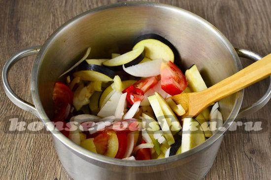 соединить овощи