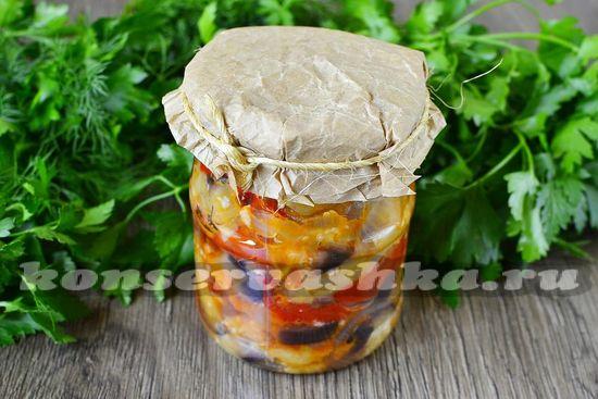 рецепт салата Тройка из баклажанов и овощей