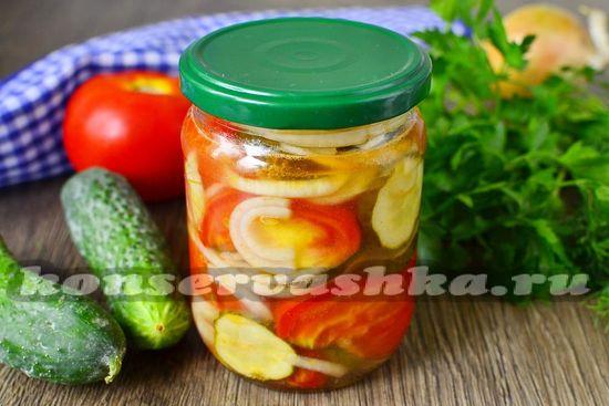 рецепт простого салата на зиму из огурцов и помидоров