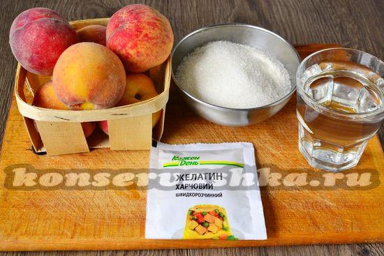 Ингредиенты для приготовления желе с персиками на зиму