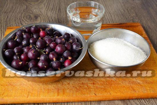 Ингредиенты для приготовления варенья из крыжовника