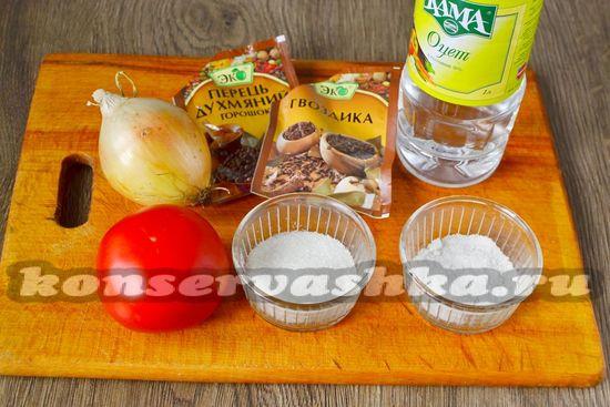 Ингредиенты для приготовления томатного суоса с луком