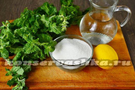 Ингредиенты для варенья с мятой и лимоном