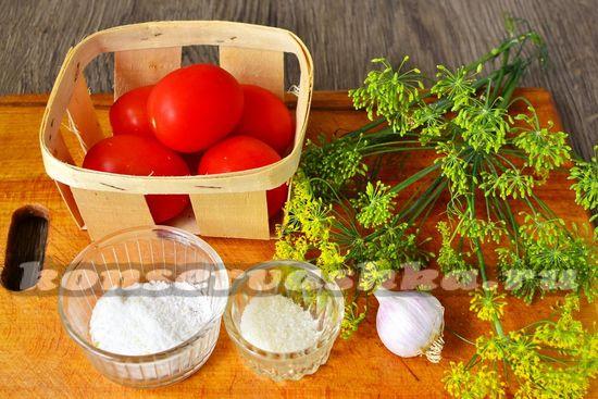 Ингредиенты для приготовления быстрых помидор в пакете