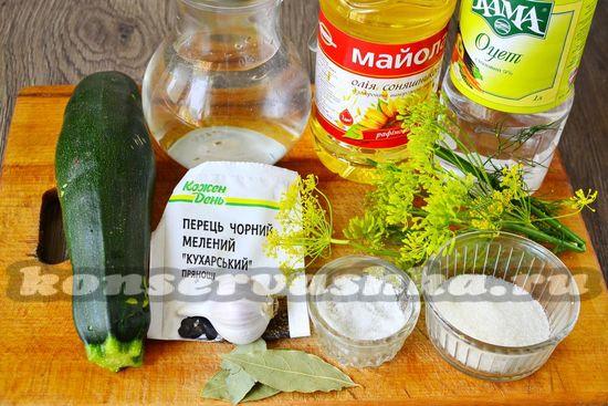 Ингредиенты для приготовления закусочных кабачков