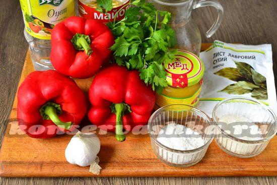 Ингредиенты для приготовления перца в медовом маринаде
