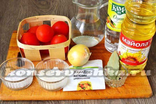 Ингредиенты для приготовления десертных помидор на зиму
