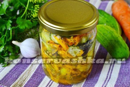 рецепт салата из огурцов и моркови на зиму