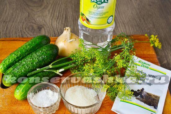 Ингредиенты для приготовления салата из огурцов без стерилизации