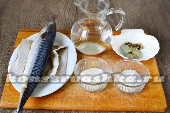 Ингредиенты для приготовления маринованной скумбрии