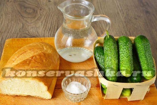 Ингредиенты для приготовления огурцов на белом хлебе