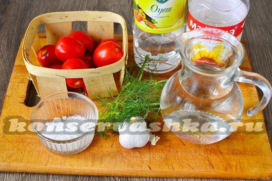 Ингредиенты для приготовления острых помидор на зиму