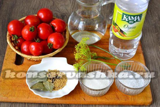 Ингредиенты для приготовления помидор с зернами горчицы