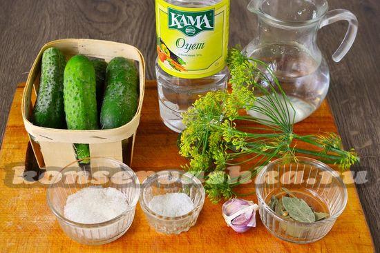 Ингредиенты для приготовления огурцов без стерилизации на зиму