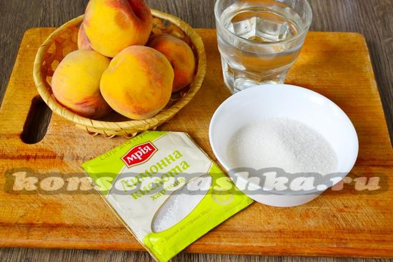 Ингредиенты для приготовления джема из персиков
