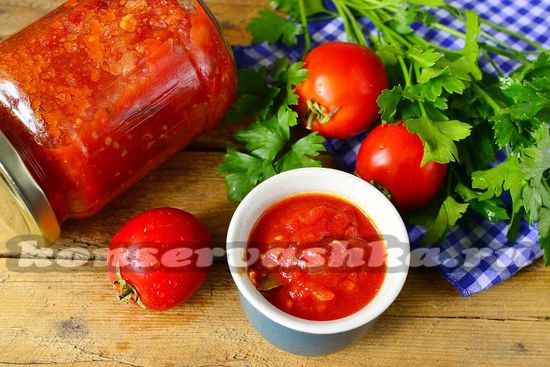 рецепт томатного вкусного соуса на зиму