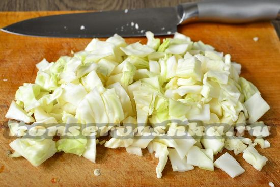 нарезаем ломтиками капусту