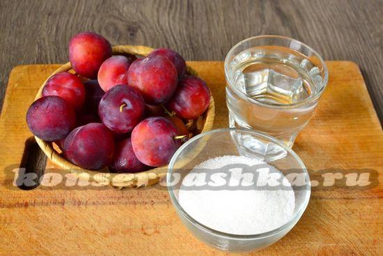 Ингредиенты для приготовления слив в сиропе