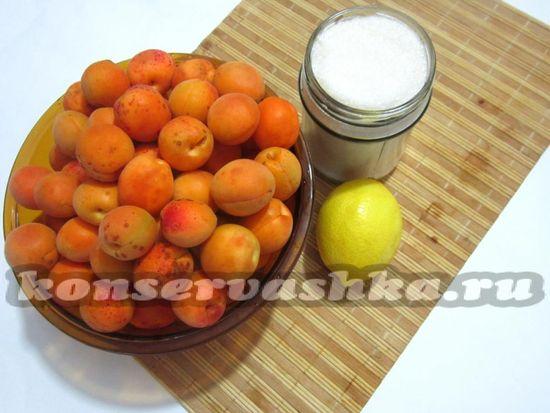 Ингредиенты для приготовления варенья из абрикос и лимона