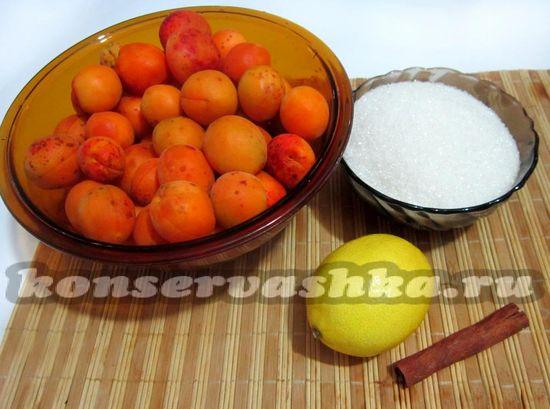 Ингредиенты для приготовления абрикосового варенья с лимоном и корицей