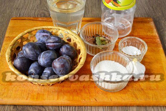 Ингредиенты для приготовления слив