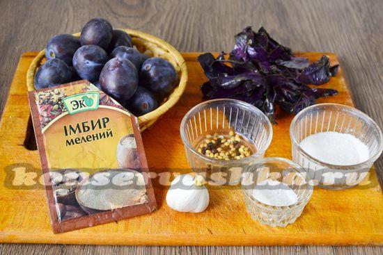 Ингредиенты для приготовления соуса из слив