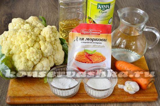 Ингредиенты для приготовления цветной капусты