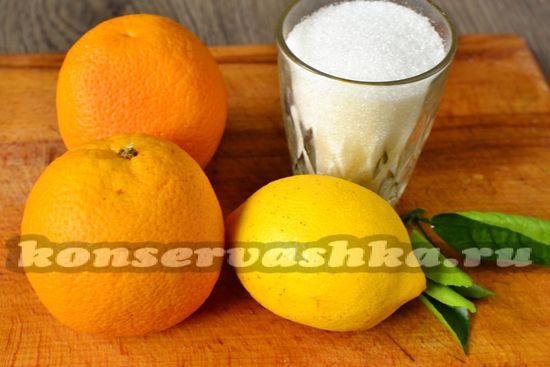 Ингредиенты для приготовления джема из апельсин