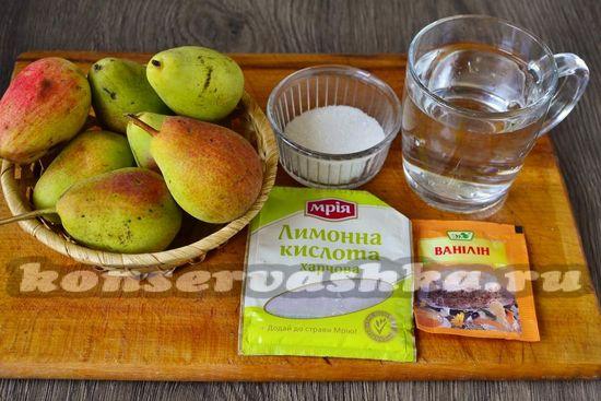 Ингредиенты для приготовления груш