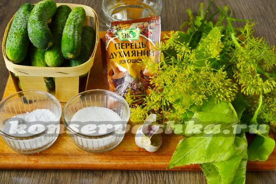 Ингредиенты для приготовления малосольных огурцов