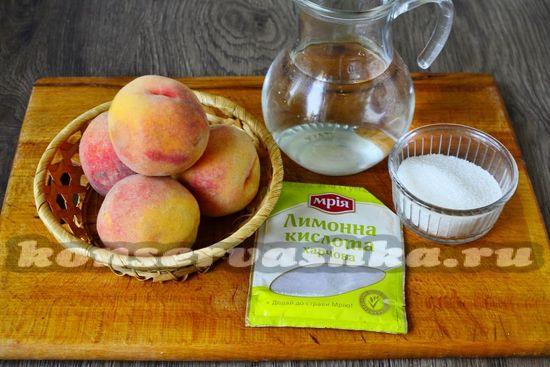 Ингредиенты для приготовления персиков в сиропе