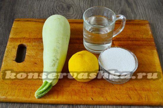 Ингредиенты для приготовления конфитюра из кабачков