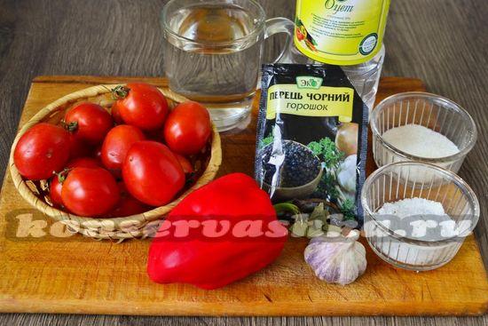 Ингредиенты для приготовления помидор без кожуры на зиму