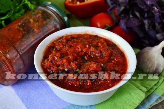 рецепт соуса Сацибелли с базиликом на зиму
