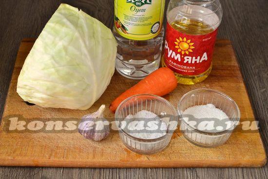Ингредиенты для приготовления капусты