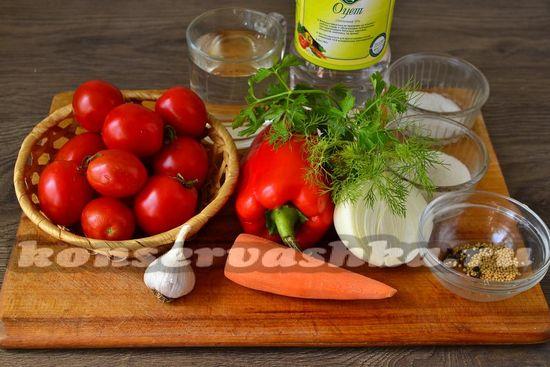 Ингредиенты для приготовления маринованных помидор