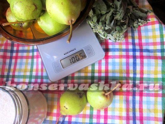 Ингредиенты для приготовления варенья дольками из дикой груши