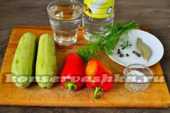 Ингредиенты для приготовления салата с кабачками и перцем на зиму
