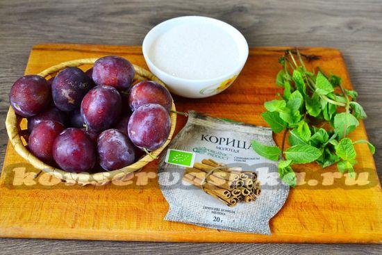 Ингредиенты для приготовления варенья из слив