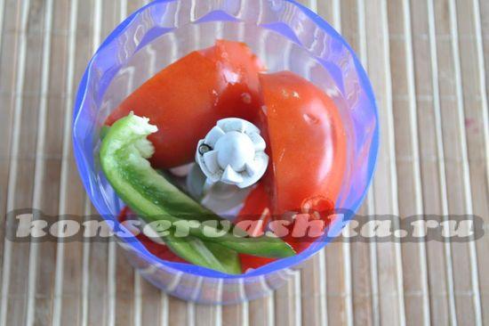 овощи выложим в блендер