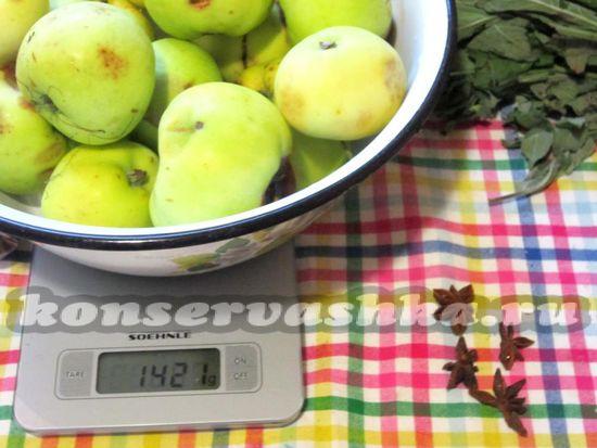 Ингредиенты для приготовления 250-300 грамм повидла