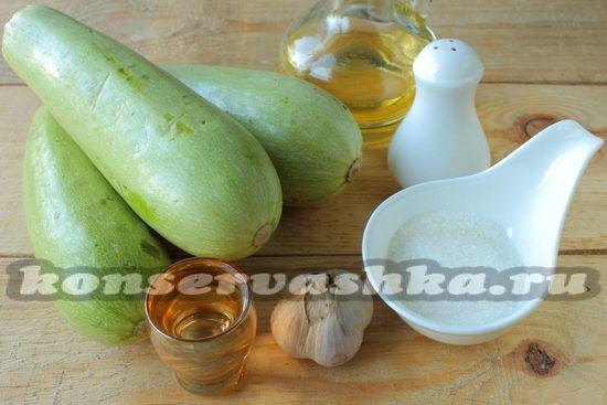 Ингредиенты для приготовления салата из жаренных кабачков на зиму