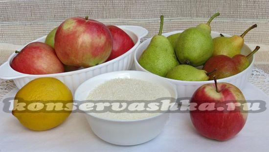 Ингредиенты для приготовления варенья из яблок и груш